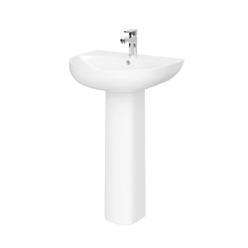 Saffron 550mm Basin & Full Pedestal - 1 Tap Hole